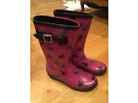 Pink wellies/Wellington boots (mid-calf) with horse/pony pattern, size 5 - perfect for festivals!
