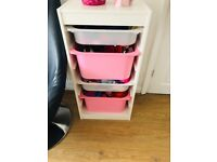 IKEA storage unit with 4 boxes