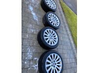 """4 Vauxhall alloys 18"""" & nearly new tyres 245 R18 TPS recently purchased"""