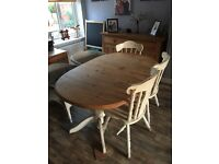 Extendable solid pine dining table and 5 chairs