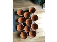 11 clay plant pots