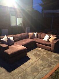 Sofa , Designer sofa , u shaped sofa , brown suede , bespoke sofa , large sofa