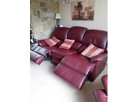 Reclining 3 Seater Leather Sofa & Chair
