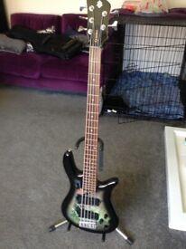 Bass guitar Spector 5 string holoflash bass .