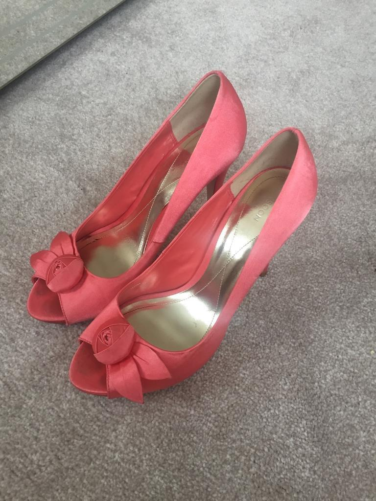Coral satin shoes size 6 from monsoon