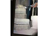 Swarovski Crystal elements waterfall cake stand