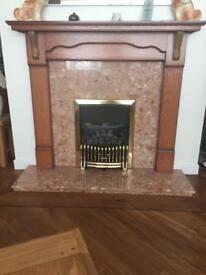 Gas fire & oak surround marble fire place