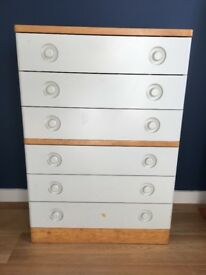 Chest of Drawers, white and natural wood, FREE collection only, ideal for child's bedroom or nursery