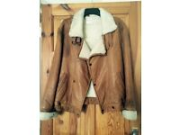 Tan leather and sheepskin flying jacket