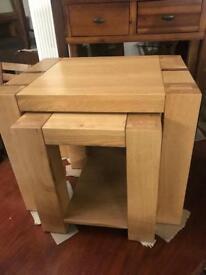 Meridian oak nest of tables