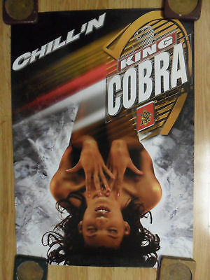 Sexy Girl Beer Poster ~ King Cobra Malt Liquor Chilling in Ice CHILL'N