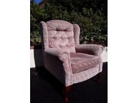 UPRIGHT NEUTRAL COLOURED VELOUR FIRESIDE CHAIR. EXCELLENT CONDITION. AXMINSTER £40