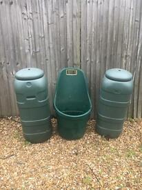 Water butts and trolley - garden