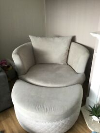 DFS swivel chair and half moon stool