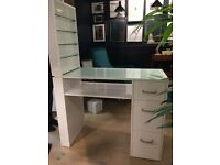 White Manicure Table With Nail Polish Shelf and 3 Draws.
