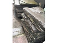 Old fashioned thick paving slabs
