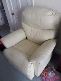 Recliner Chair, Electric/Motorised, Cream Coloured