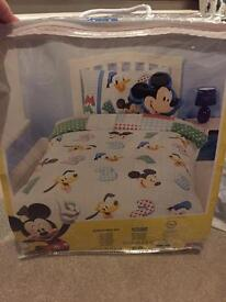 NEW single duvet cover pillow case cushion disney store mickey Pluto Donald Duck