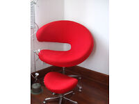 Funky red swivel chair with footstool tulip egg retro style designer modern bedroom office chrome