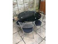 Argos Black glass top table and 4 chairs
