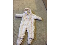 Beautiful baby girls all in one puddle / snow suit age 9-12 months, in excellent condition