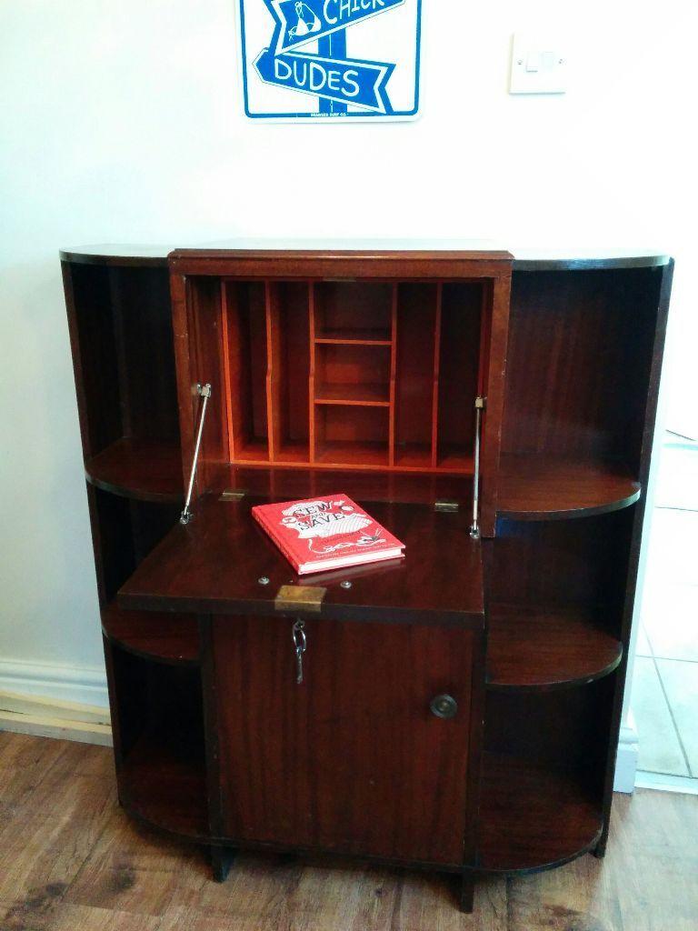 Antique Alcove Sized Writing Bureau Bookshelf With Drop Down Laptop Desk