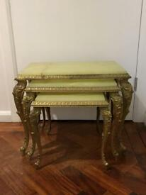 Vintage brass and onyx nest of tables