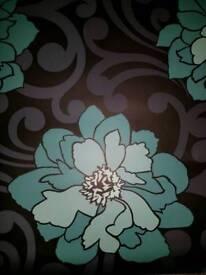 Homebase Feature Wallpaper - Jade Green & Black - Floral & Damask background