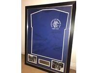Framed Rangers FC shirt - signed by 1972 European Cup Winners