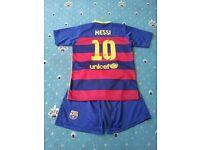 Barcelona club replcia kids boys football kit shorts shirt messi spanish spain