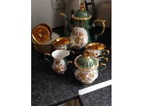 Tea set lovely green and gold set one white and gold and a lot more other thing for sale