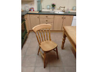 Large pine kitchen/dining table with four chairs