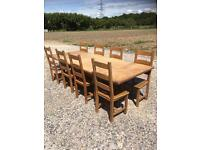 Solid pine extending farmhouse table with chairs. Free delivery