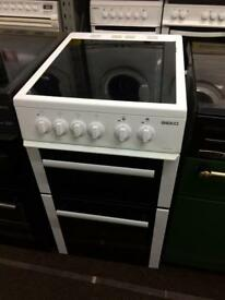 White beko 50cm ceramic hub electric cooker grill & fan assisted ovens with guarantee