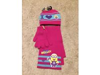 Brand New! Girls Size 4-8 Years Despicable Me 3-Piece Winter Set - WILL POST FOR £2