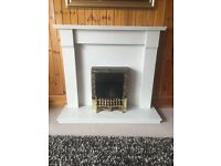 White Marble Fireplace Surround with Electric Fire