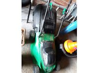 Lawn mower / 2x hedge trimmers / garden vacuum / crment postcrete and post