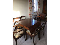 Edwardian dining table with 6 chairs
