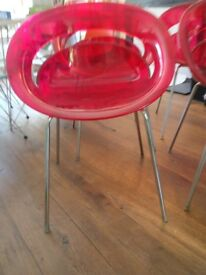 Contemporary red chairs