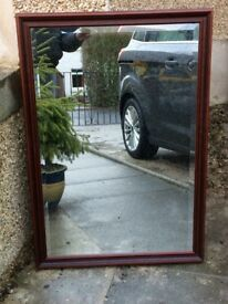 Mahogany Bevelled Glass Mirror