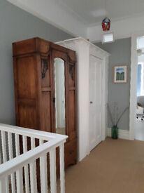 Antique Victorian/Edwardian wooden wardrobe with mirror
