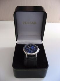 Pulsar Men's Multi Dial Watch with Black Leather Strap