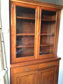 Victorian display cabinet over cupboard with drawers