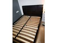 Double faux leather chocolate bed frame