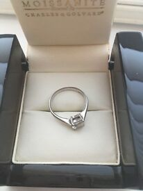 18 carat white gold mossinate engagement ring