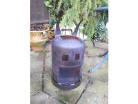 Hand made gas bottle log burner heater