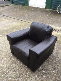Genuine Italian leather sofa and matching chair