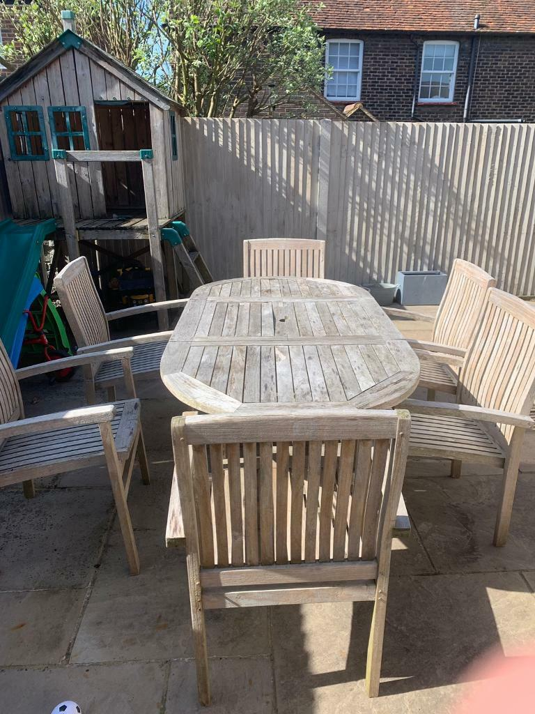 Solid teak garden table and 6 chairs | in Chalfont St ...