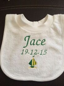 Personalised embroidered bibs