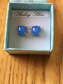 Sterling silver earrings with blue fire opal stones brand new